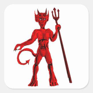 赤い悪魔およびピッチのフォーク スクエアシール