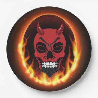 赤い悪魔のスカルの骨組紙皿 ペーパープレート