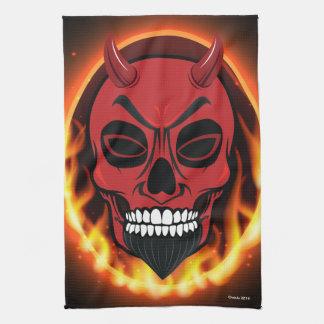 赤い悪魔のスカルの骨組鬼の台所タオル キッチンタオル