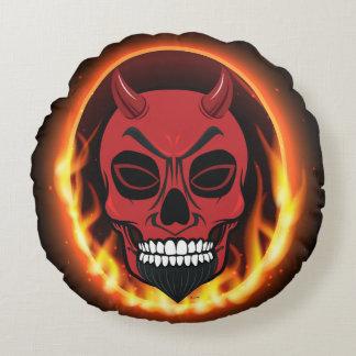 赤い悪魔のスカルの骨組鬼犬のベッド ラウンドクッション
