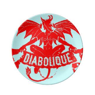 赤い悪魔のDiaboliqueのぼろぼろのグラフィックアートハロウィン 磁器プレート