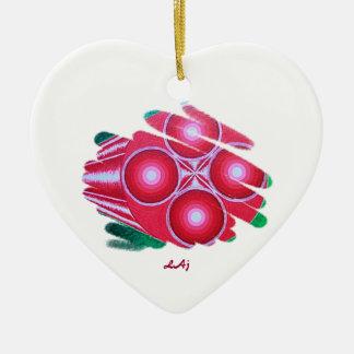 赤い情熱のチャクラの渦のハートのオーナメント 陶器製ハート型オーナメント