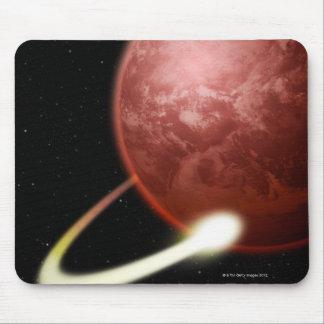 赤い惑星の回りを回る彗星 マウスパッド