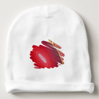 赤い愛チャクラのらせん状の芸術の赤ん坊の帽子 ベビービーニー