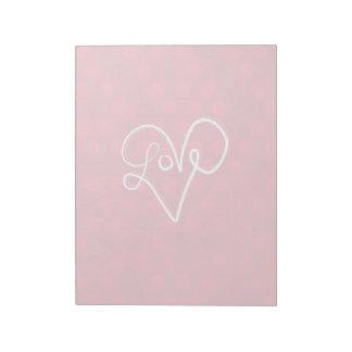 赤い愛ハートのタイポグラフィ ノートパッド
