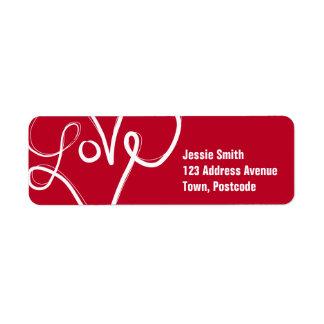 赤い愛ハートの活版印刷 ラベル