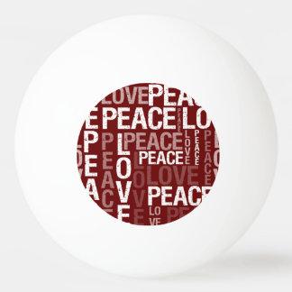 赤い愛平和タイポグラフィ 卓球ボール