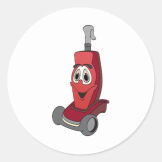 赤い掃除機 丸形シールステッカー