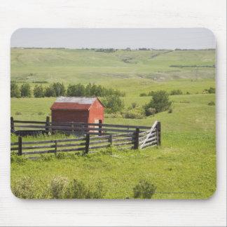 赤い掘っ建て小屋および囲われた区域の牧草地分野 マウスパッド