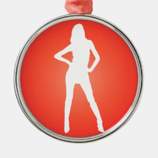 赤い放射状の女の子のシルエット メタルオーナメント