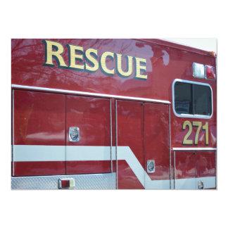 赤い救急車のクローズアップ カード