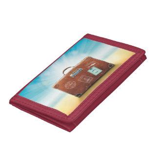 赤い旅行三重ナイロン財布 ナイロン三つ折りウォレット