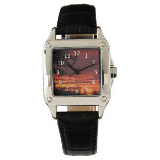 赤い日没の腕時計 腕時計