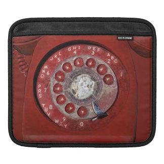 赤い旧式のダイヤルの回転式電話iPad Sleev iPadスリーブ