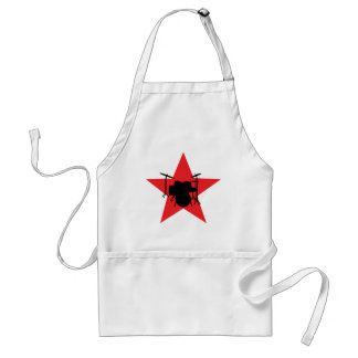 赤い星のドラムドラマー スタンダードエプロン