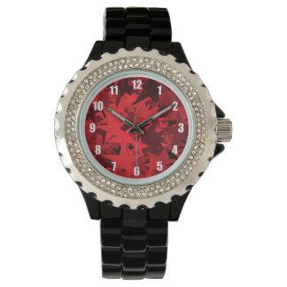 赤い星のパターン(の模様が)あるな腕時計 リストウォッチ