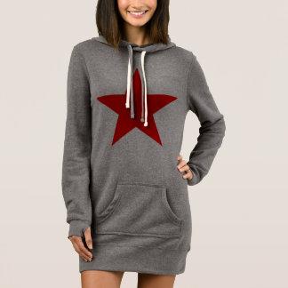 赤い星の女性のフード付きスウェットシャツの服 ドレス