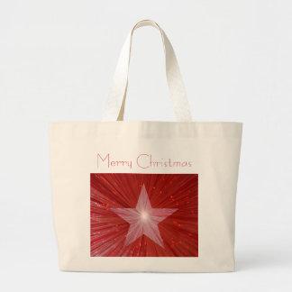 赤い星の「メリークリスマス」のジャンボトートバック ラージトートバッグ