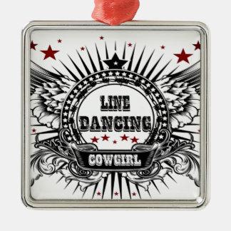 赤い星を持つラインダンスの女性のカーボーイ メタルオーナメント