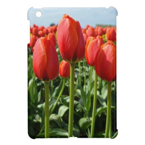 赤い春のチューリップの庭 iPad MINIケース