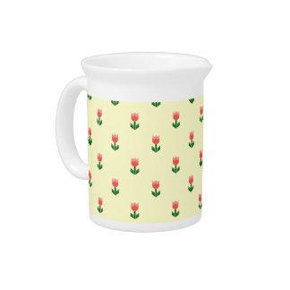 赤い春のチューリップの花 ピッチャー