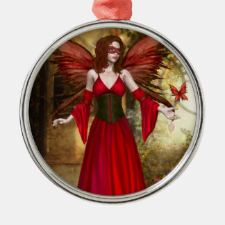 赤い春の妖精のオーナメント メタルオーナメント
