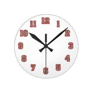 赤い時計のテンプレートのグリッター ラウンド壁時計