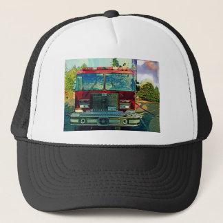 赤い普通消防車の消防士の芸術のギフト キャップ