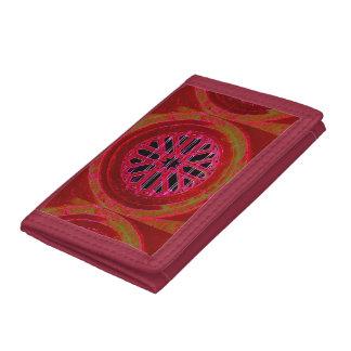 赤い曼荼羅のデザインの札入れ