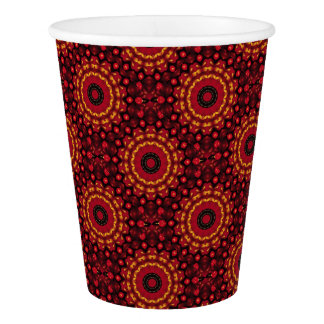 赤い曼荼羅の金ゴールド 紙コップ