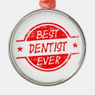 赤い最も最高のな歯科医 メタルオーナメント