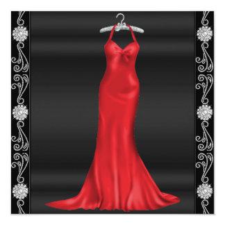 赤い服の誕生日のパーティの招待状 カード