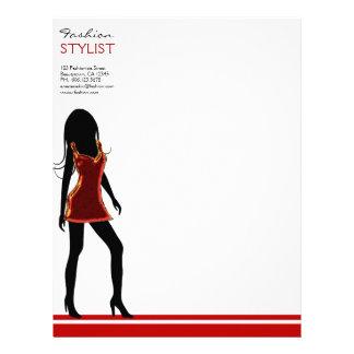 赤い服レターヘッドテンプレートのファッションの女の子 レターヘッド