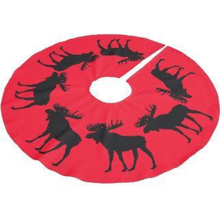 赤い木のスカートのクリスマスのアメリカヘラジカ ブラッシュドポリエステルツリースカート