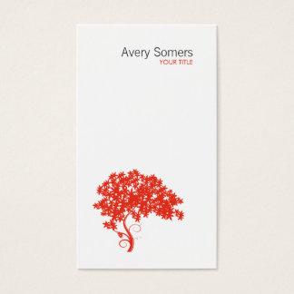 赤い木のロゴのシンプルで白い名刺 名刺