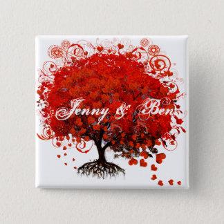 赤い木の結婚式のTシャツ、ギフト、ステッカー及び好意 5.1CM 正方形バッジ