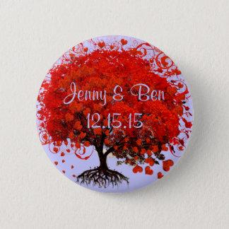 赤い木の結婚式のTシャツ、ギフト、ステッカー及び好意 5.7CM 丸型バッジ