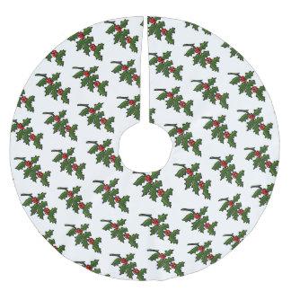 赤い果実が付いているクラシックなクリスマスのヒイラギの小枝 ブラッシュドポリエステルツリースカート