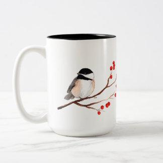 赤い果実を持つ《鳥》アメリカゴガラ-独身のな枝 ツートーンマグカップ