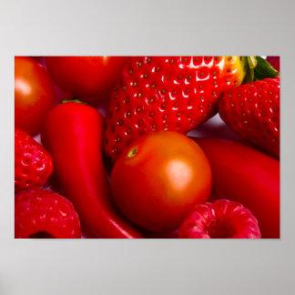 赤い果物と野菜プリントかポスター ポスター