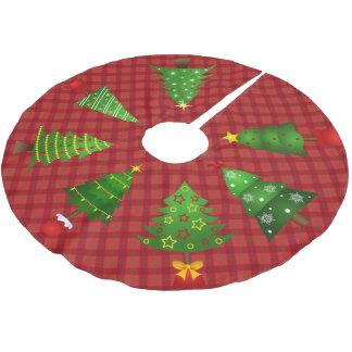 赤い格子縞およびクリスマスツリーのスカート ブラッシュドポリエステルツリースカート