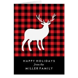 赤い格子縞および白い雄鹿|の休日の挨拶状 カード