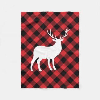 赤い格子縞および白い雄鹿|の休日 フリースブランケット