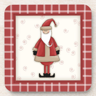 赤い格子縞とのかわいい国のクリスマスサンタクロース コースター