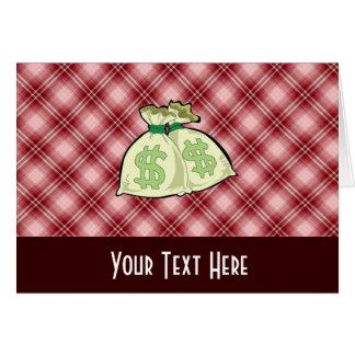 赤い格子縞のお金のバッグ カード