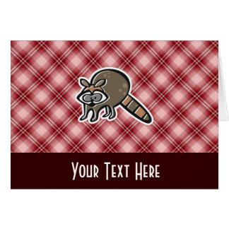 赤い格子縞のアライグマ カード