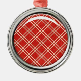 赤い格子縞のオーナメント メタルオーナメント