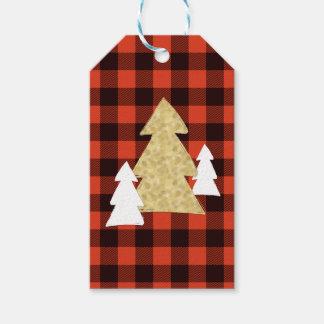 赤い格子縞のギフトのラベルのクリスマスツリー ギフトタグ