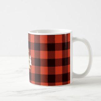 赤い格子縞のコーヒー・マグのクリスマスツリー コーヒーマグカップ