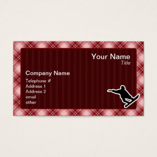 赤い格子縞のスノーボード 名刺